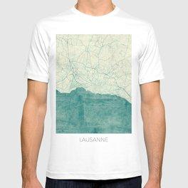 Lausanne Map Blue Vintage T-shirt