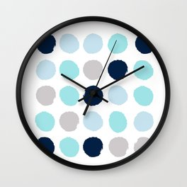 Minimal painted dot polkaed ot pattern blue navy indigo gender neutral nursery Wall Clock