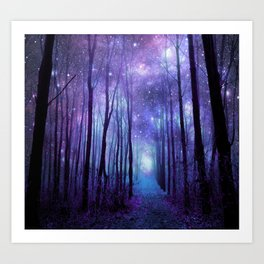 Fantasy Forest Path Icy Violet Blue Art Print
