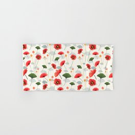 Coral Poppy and Cream Hand & Bath Towel