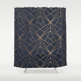 Navy blue Gold Geometric Pattern With White Shimmer Shower Curtain