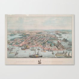 Vintage Pictorial Map of Annapolis MD (1864) Canvas Print