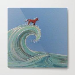 Surfing Kelpie Metal Print