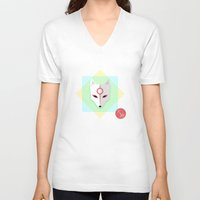 okami V-neck T-shirts featuring Okami by Sun Dai