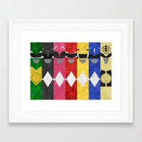 power rangers Framed Art Prints featuring Mighty Morphin Power Rangers by Some_Designs