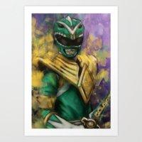 power ranger Art Prints featuring Green Mighty Morphin Power Ranger by SachsIllustration