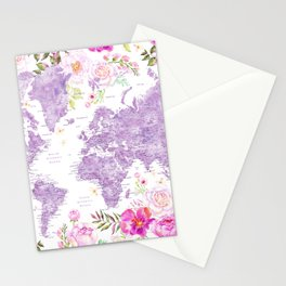 Purple watercolor floral world map with cities Stationery Cards