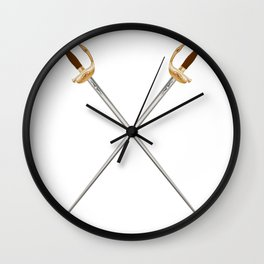 Crossed Infantry Swords Wall Clock