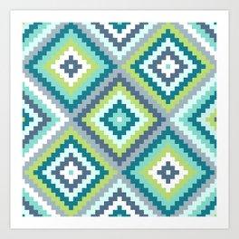 Aztec Diamond Block Ptn Teals Blues Lime White Art Print