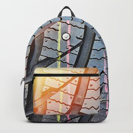 Background tread pattern winter tire Backpack