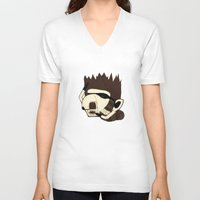 racoon V-neck T-shirts featuring Raino Racoon by René Barth