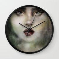 fierce Wall Clocks featuring Fierce  by Ankori