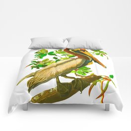 Brown Pelican Vintage Illustration Comforters