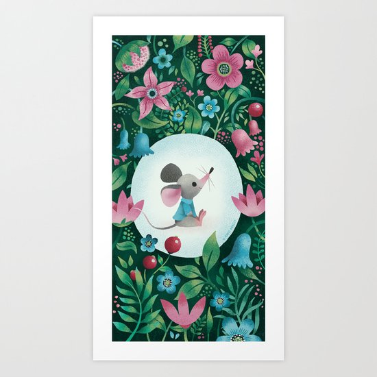 Mouse Amongst The Flowers Art Print