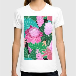 Tropical Botanical Pond in Black T-shirt