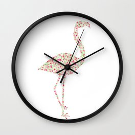 Flamingo Floral Watercolor Wall Clock