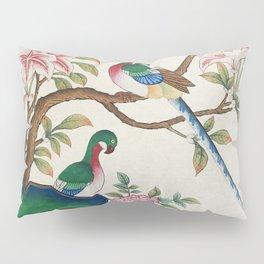 Minhwa: Birds and Royal azalea (Korean traditional/folk art) Pillow Sham