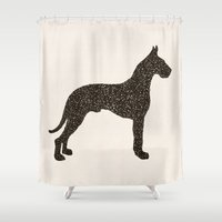 great dane Shower Curtains featuring Dog III - Great Dane by Alisa Galitsyna