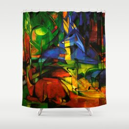Deers in Wood by Franz Marc Shower Curtain