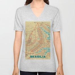 Brasilia Map Retro Unisex V-Neck