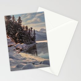 Winter Sunrise Lakeside in the Mountains by Ivan Fedorovich Choultsé Stationery Cards