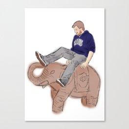 Christian rides an Elephant Canvas Print