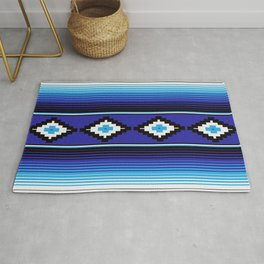 Modern Mexican Serape in Blue Rug