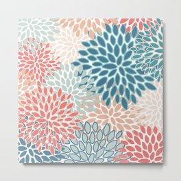 Festive, Floral Prints, Teal, Coral, Peach Metal Print