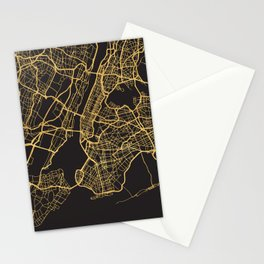 NEW YORK CITY GOLD ON BLACK CITY MAP Stationery Cards
