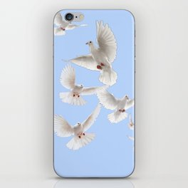 WHITE PEACE DOVES IN SKY BLUE COLOR iPhone Skin