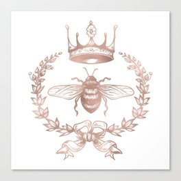Queen Bee in Rose Gold Pink Canvas Print