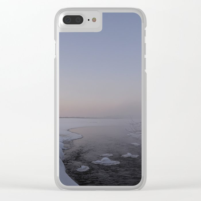 Frosty evening on the river. Clear iPhone Case