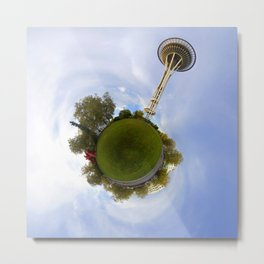 Space Needle Tiny Planet Metal Print