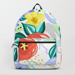 Flowers red pattern Backpack