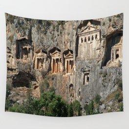 Lycian Tombs at Dalyan Close Up Wall Tapestry