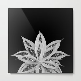 Gray Agave with Black Silver Glitter #2 #shiny #tropical #decor #art #society6 Metal Print