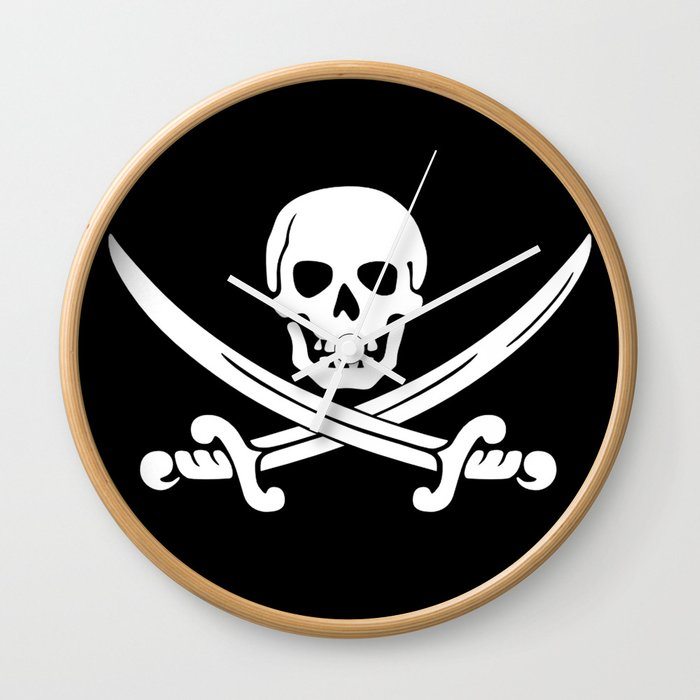 Jolly Roger Pirate Wall Clock By Jerrylambert Society6