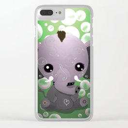 Punky Pachyderm - Green Clear iPhone Case