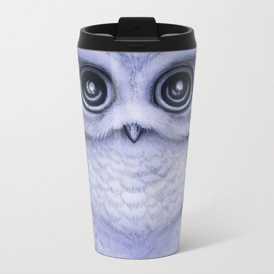 """The Little Owl"" by Amber Marine ~ (Lavender Bud Version) Pencil&Ink Illustration, (Copyright 2016) Metal Travel Mug"