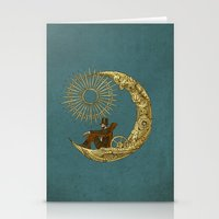 chris brown Stationery Cards featuring Moon Travel by Eric Fan