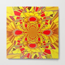 RED & YELLOW GEOMETRICAL-OPTICAL ART Metal Print