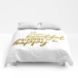 Beautiful reasons - gold lettering Comforters