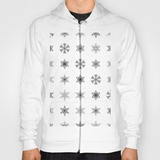 Snowflake Pattern - Black and white winter snowflake pattern artwork Hoody