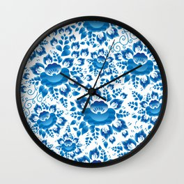 Vintage shabby Chic spring romantic pattern with sky blue flowers Wall Clock