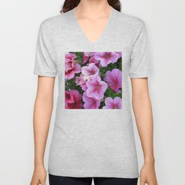 Vibrant Pink and Red Petunia Flowers Unisex V-Neck