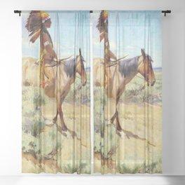 """The Chief"" Western Art by W Herbert Dunton Sheer Curtain"