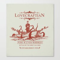 whiskey Canvas Prints featuring Lovecraftian Whiskey by Pigboom Art
