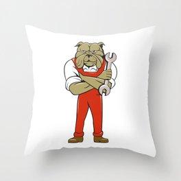 Bulldog Mechanic Arms Crossed Spanner Cartoon  Throw Pillow