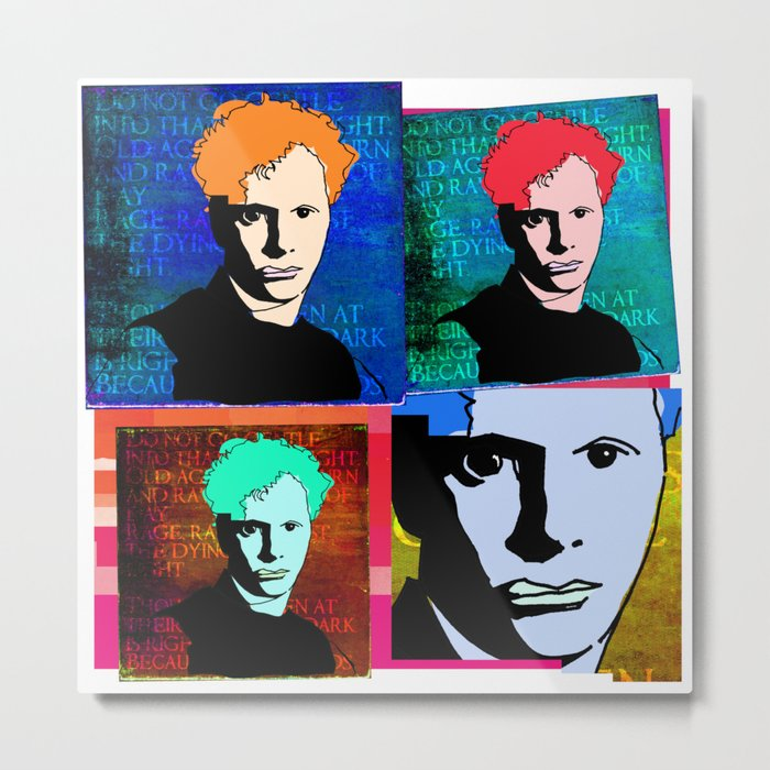 DYLAN THOMAS (FUNKY-COLOURED 4-UP COLLAGE) Metal Print