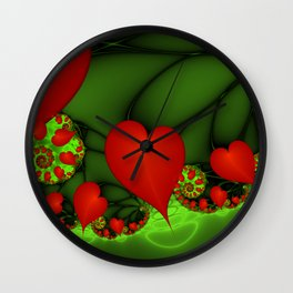 Dancing Red Hearts Fractal Art Wall Clock
